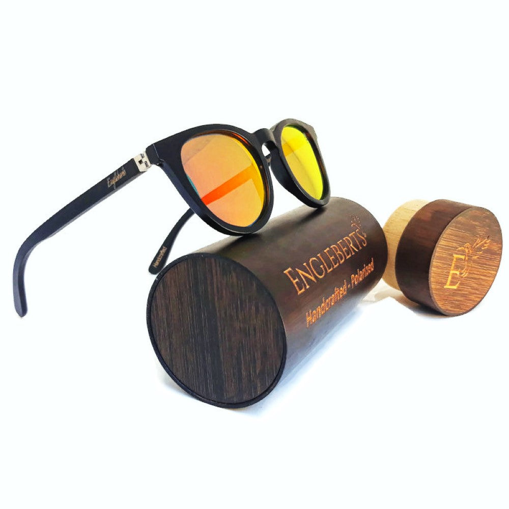 sunset colored lenses sunglasses with wood case