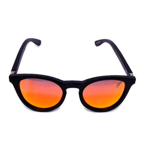 red lens sunglasses with black bamboo arms