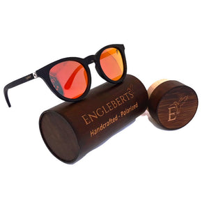 red mirror lens wood glasses with wood case