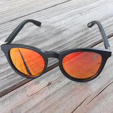Load image into Gallery viewer, red lenses sunglasses with black bamboo arms