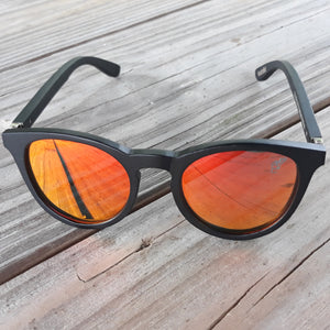 red lenses sunglasses with black bamboo arms