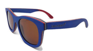 blue bamboo sunglasses with tea colored lens