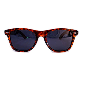 tortoise framed wooden sunglasses front view