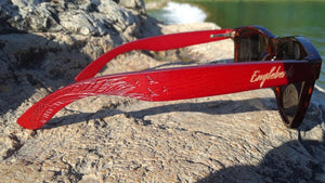 side view red bamboo sunglasses
