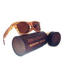 Load image into Gallery viewer, zebrawood full frame sunglasses with case