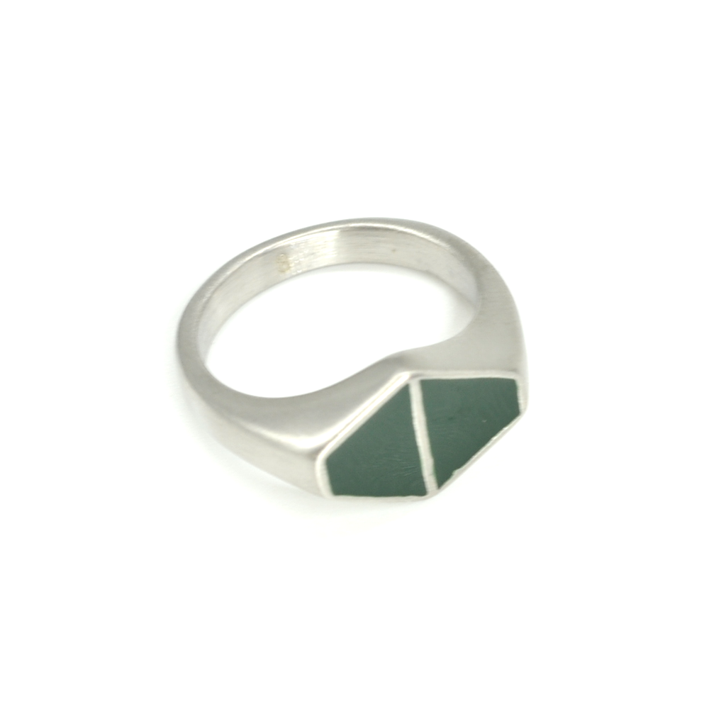 Green Duo Triangle Ring