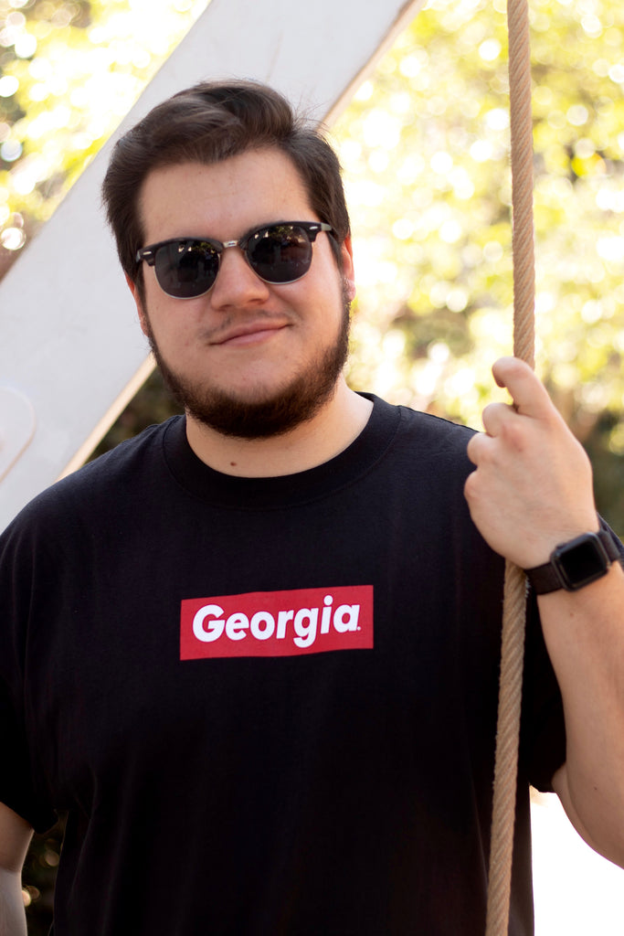 Kempt Georgia Supreme Box Logo Tee Bulldogs UGA Red and Black