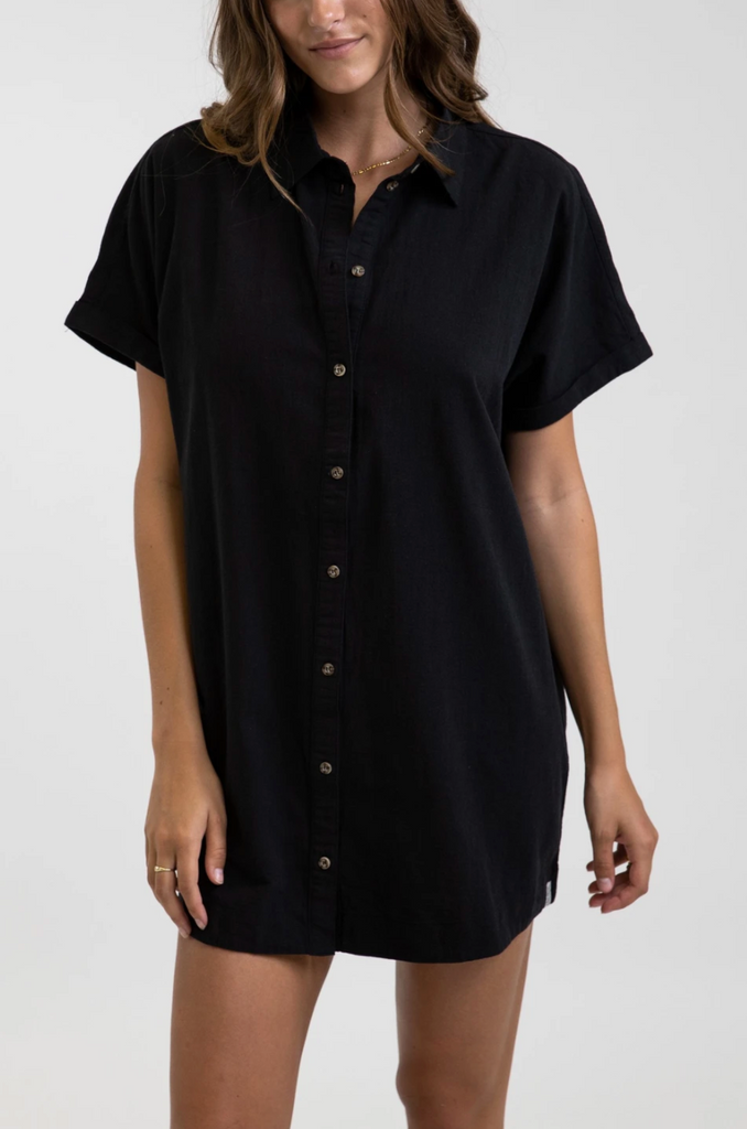 athens georgia kempt men's clothing women's rhythm classic linen shirt dress black