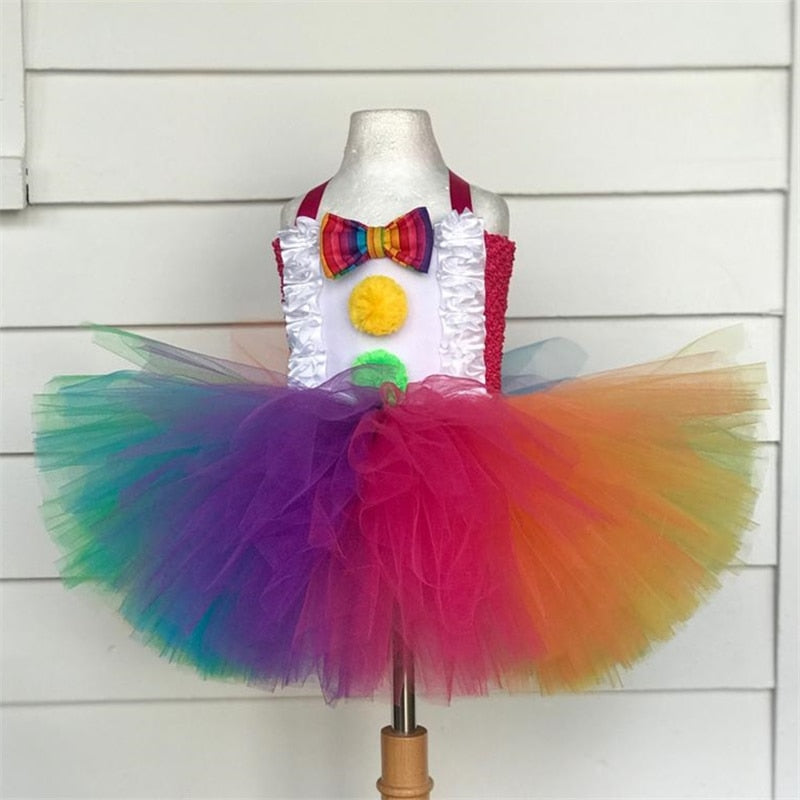 Rainbow Clown Girl Tutu Costume