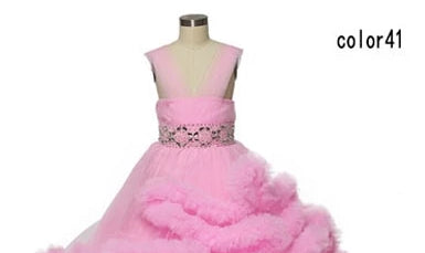 Kids Tulle Dress with Fur Trim and Jeweled Detail (Multiple Colors)