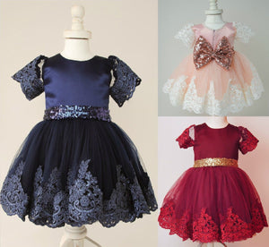 Toddlers Formal Glitter & Lace Dresses (Multiple Colors)