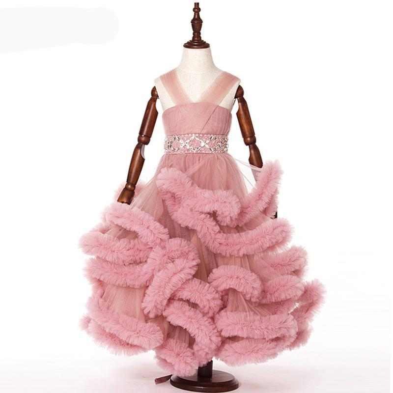 Kids Flouncy Faux Fur Bottomed Dress (Multiple Colors)