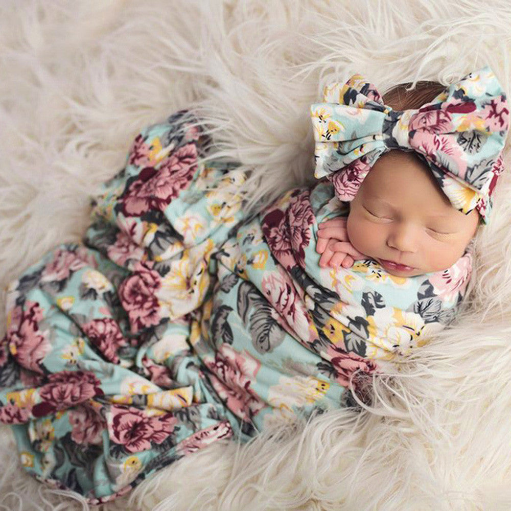 Floral Swaddle Wrap and Headband