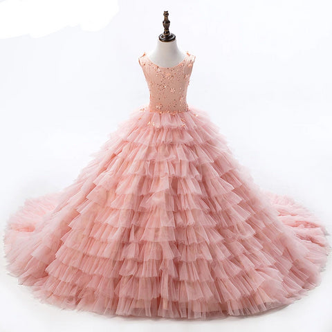 Girls Pink Ruffled Tulle Ballgown