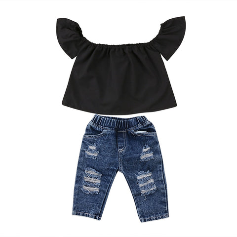 Toddlers Black O-Neck Shirt With Distressed Jeans