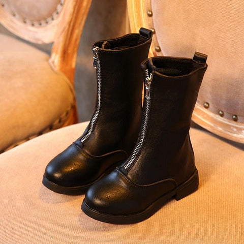 Girls Leather Zip Boots