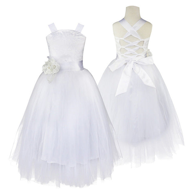 Girls Tulle Dresses with Crossed Back (Multiple Colors)
