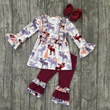 Moose Print Shirt With Matching Maroon Pants & Bow