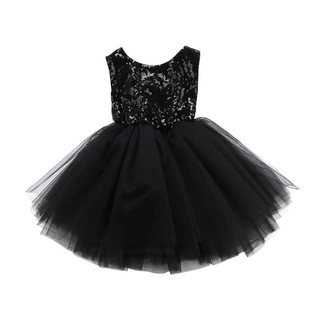 Sleeveless Kids Baby Girls Flower Lace Formal Dress Fashion Sequin Wedding Dress Party Mesh Pleated Prom Dress