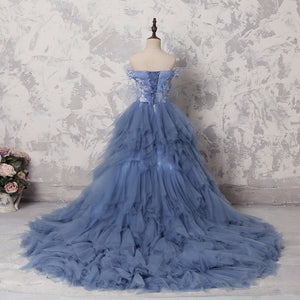 High Low Long Feather  ball Gown with Train