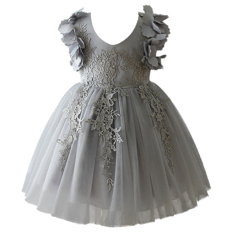 Kids Short Lacey Dress With Flowers
