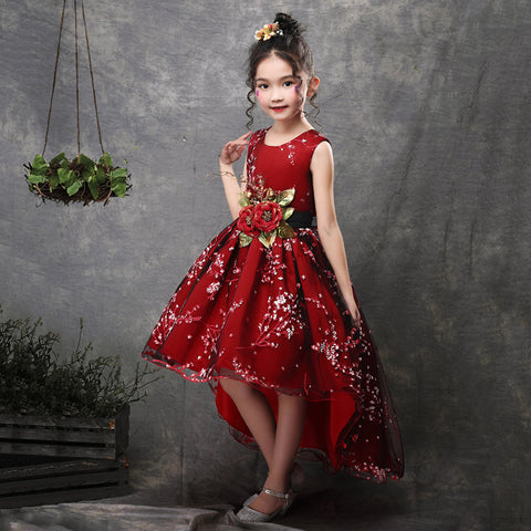 New Brand Flower Girls Dress Kids Princess Party Wedding Gowns for Children Graduation Ceremony Baby Kids Long Tail Formal Wear