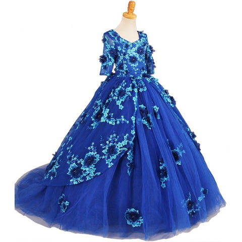 Photography 2018 Girls Pageant Dresses With Half Sleeves Blue Ball Gown Appliques Tulle Flower Girl Dresses For Little Girls