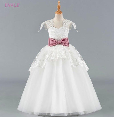Flower Girls Dress With Bow & Lace  (Mulitple Colors)
