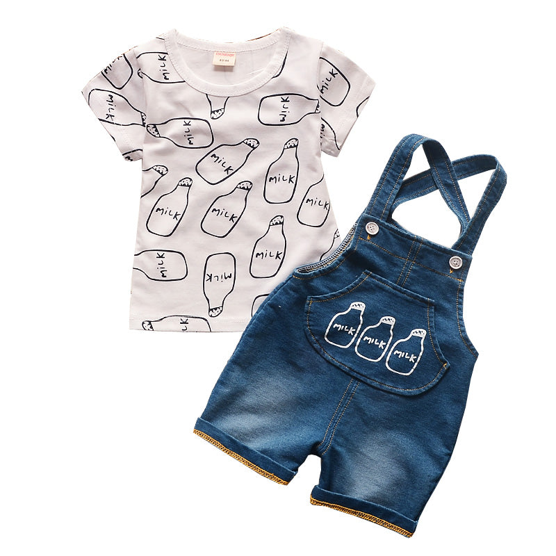 Milk Bottle Print Shirt & Overalls (Multiple Colors)