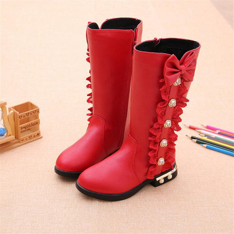 Button Ruffle Leather Boots