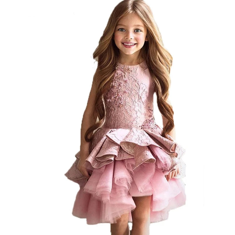 Layered And Lacey Pink Flower Girl Dress