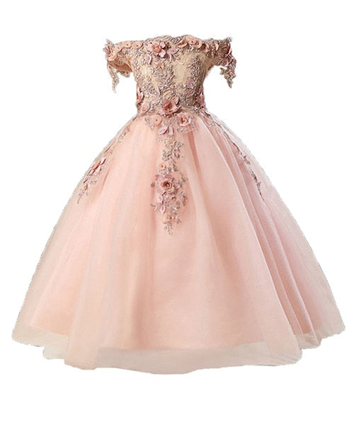 Girls Elegant Floral Beaded Ballgown (Multiple Colors)