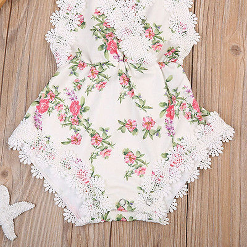 The Naomi  Lace Floral Romper Jumpsuit