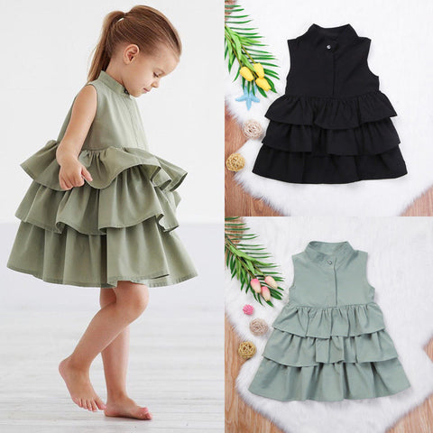 Girls Ruffled Sleeveless Formal Dress