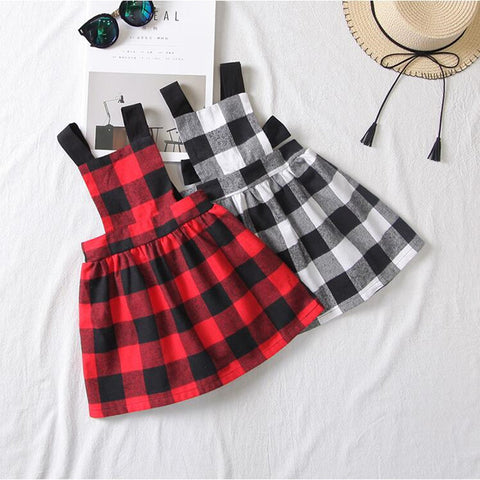 Baby Girls Plaid Dress (Grey Or Red)