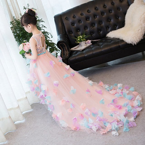 Gorgeous Pink High Low Dress with Pastel Petals