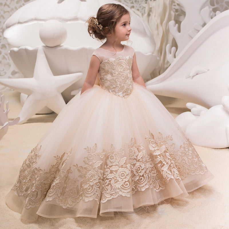 New Flower Girl Dresses For Weddings Lace Ball Gown Sleeveless Kids Evening Gown First Communion Dresses For Girls Vestido Longo