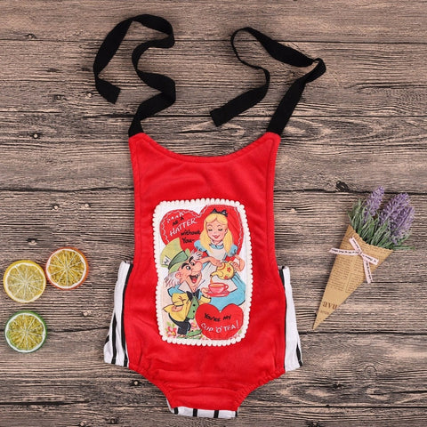 Storytime Backless Romper- Alice In Wonderland