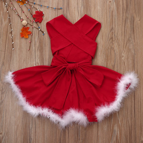 Girls Red Christmas Dress with White Faux Fur Trim
