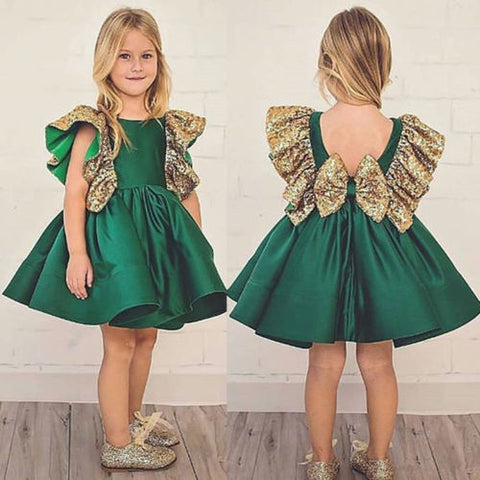Emerald Green Dress with Gold Glitter Detail