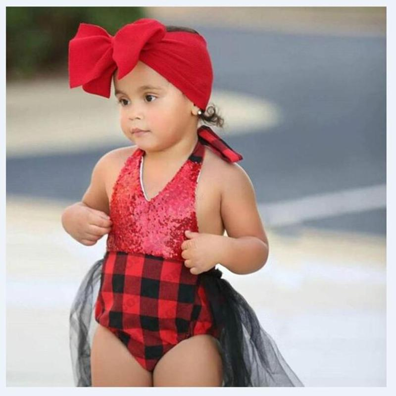 Darling Red Buffalo Check Romper Tutu Dress