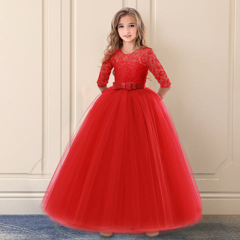 Teens Girls Exquisite Communion Red Tulle Long Lace Dress Kids Girl Bridesmaids Wedding Pageant Party Holiday Formal Gown 6 14Y