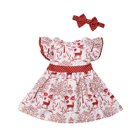 Girls Best Christmas Dress With Red Deer Print!