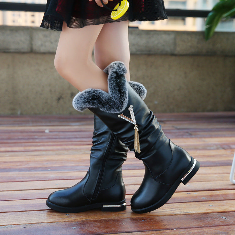 Leather Tassle Boots for Girls