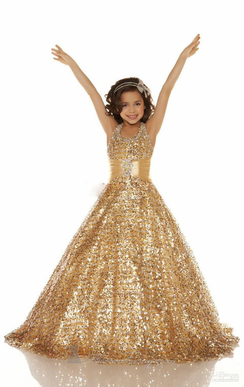 Stunning Sequin Halter Ball Gown