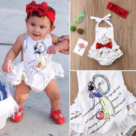 Storytime Backless Romper-  Snow White