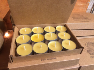 Tea Lights- Pure Beeswax- Dozen