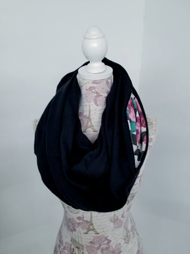 Snack Scarf - Heavy Black with Floral Pocket