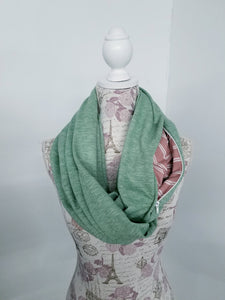 Snack Scarf - Sage Green with Stripe Pocket