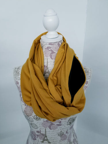 Snack Scarf - Mustard with Black Pocket